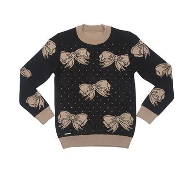 Suéter com decote redondo jacquard de laços e aplicação de strass na frente. 7705