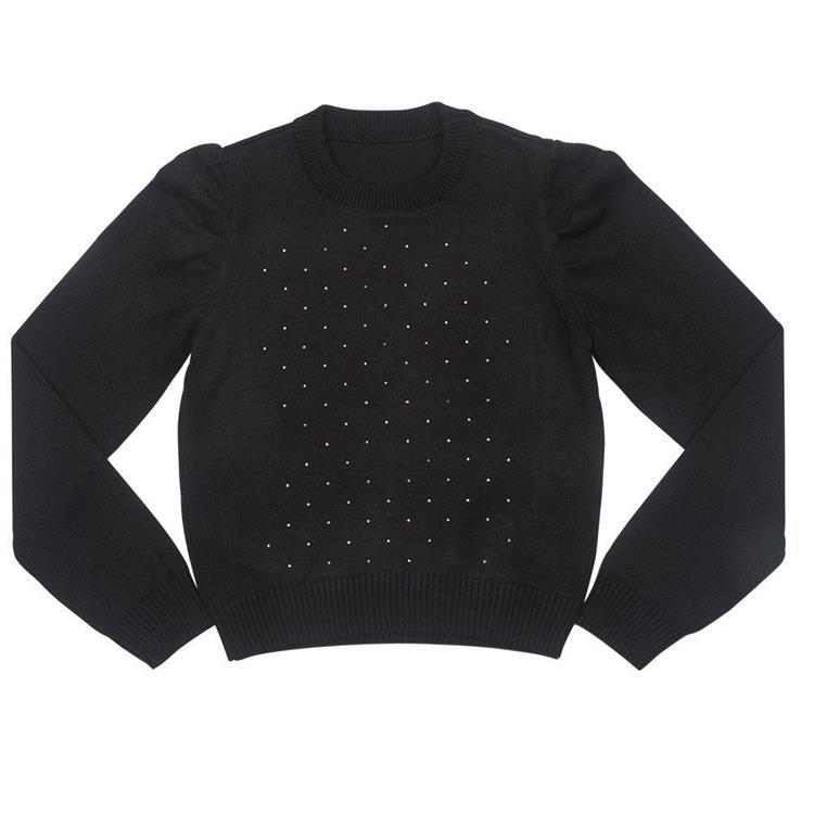 Suéter decote redondo com manga levemente bufante e aplicação de strass na frente.