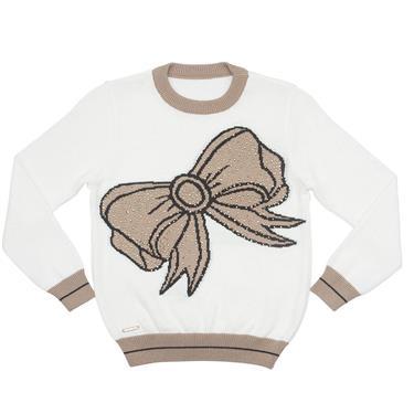 Suéter com maxi laço na frente e aplicação de strass. 7708