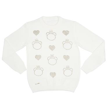 Suéter com decote redondo e strass aplicado em formato de urso e corações. 7772