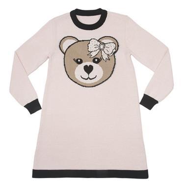 Vestido linha A com intársia de urso localizada na frente. 7769