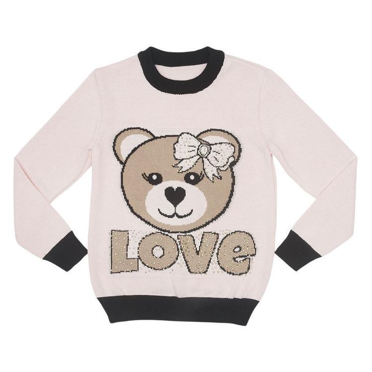 Blusa com decote redondo, intársia na frente de urso love, com aplicação de strass.