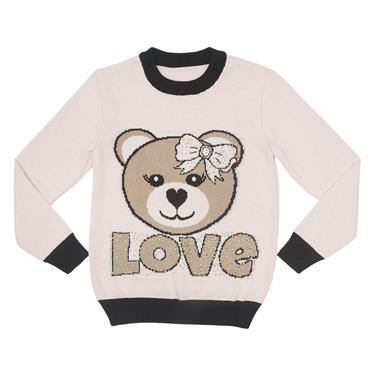 Blusa com decote redondo, intársia na frente de urso love, com aplicação de strass. 7767