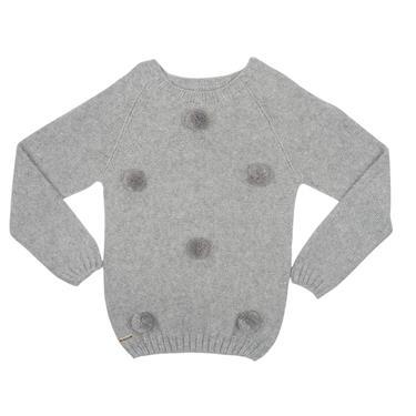 Suéter decote redondo com cava raglã e pompons aplicado. 7249