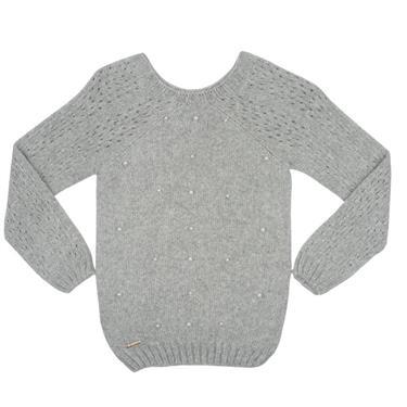 Suéter decote redondo cava raglã detalhe de pontos em furos e aplicação de pérolas. 7707