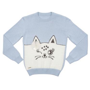Suéter decote redondo com intársia de gato na frente e laço aplicado na frente. 7703