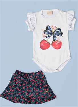 CONJUNTO BODY BABADO E SAIA EVASÉ ESTAMPA FRUIT 8018